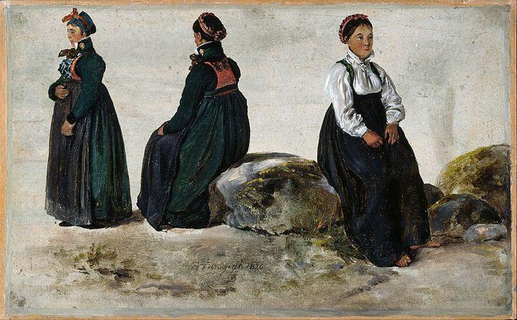 Johan Christian Dahl - Studies of Female Costumes from Luster in Sogn -
