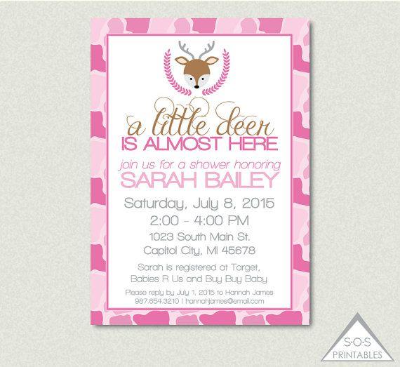 Pink Camo Deer Baby Shower Invitation, A little Deer is almost here baby shower, Printable Invitation, Pink Camouflage Baby Shower,Girl Deer