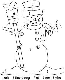 Snowman Color By Numbers - - Pinned by @PediaStaff – Please visit http://ht.ly/63sNt for all (hundreds of) our pediatric therapy pins