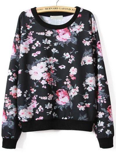 Sweat-Shirt floral manche longue -Noir
