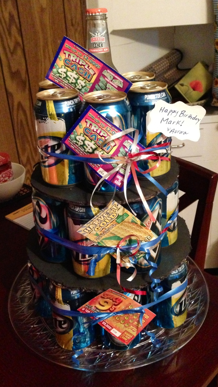 Beer Cake Tower for the man in my life lol. Use a 12, 10 ...