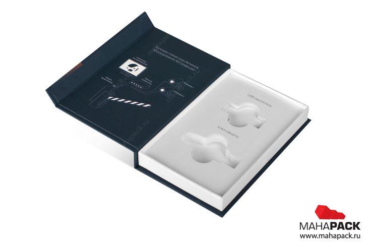 Кашированная коробка с клапаном на магните для 2-х флешек под заказ