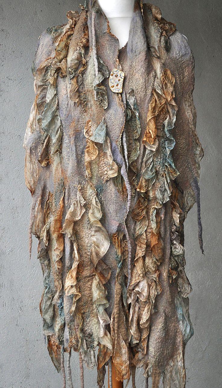 """Купить Шарф """"Апрель"""". Шелк. Шерсть. Нунофелтинг. - шарф, валяный шарф, шелк, абстрактный, бежевый"""