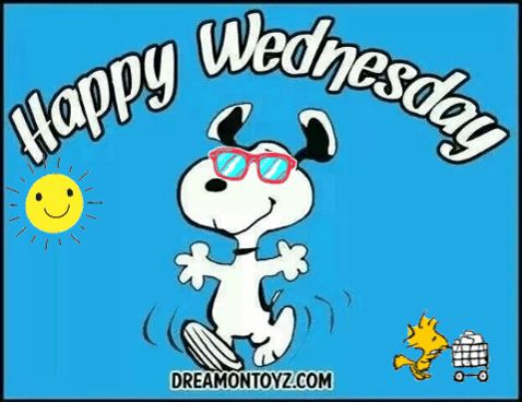 Happy Wednesday Snoopy, Woodstock, sunshine via GIPHY
