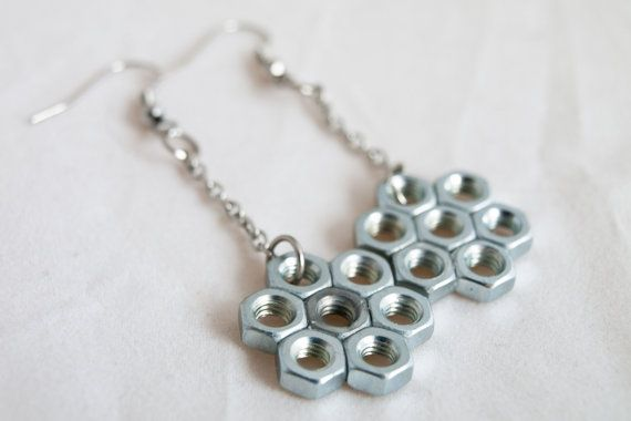 Stainless steel hex Nut Earrings. Handmade Hardware Jewelry. Long Brass Chain Dangle Earrings. Nuts and Bolts Industrial Jewelry.