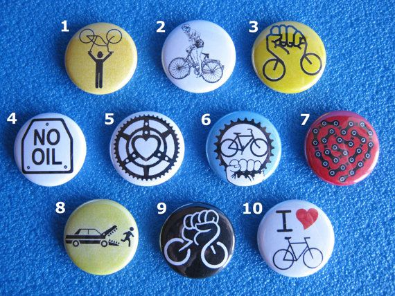 5 pins brooches pins Bicycle choice-No Oil-Critical by Pinsimonio