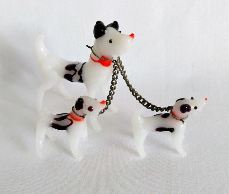 Collectable Murano Glass Dog & Puppies.  Murano Glass Miniature Dalmatian Dogs. Vintage Murano Glass Minitures. Retro Glass by usedtoyou on Etsy