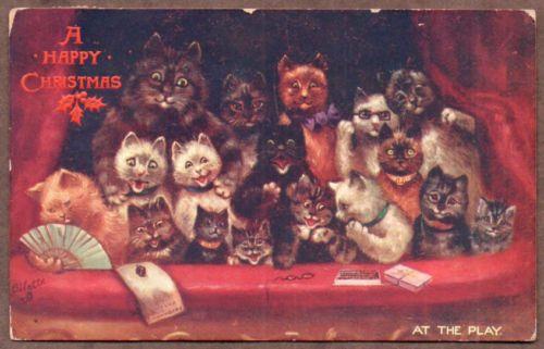 1911 Antique Postcard Louis Wain Cats Christmas Raphael Tuck Oilette Original | eBay