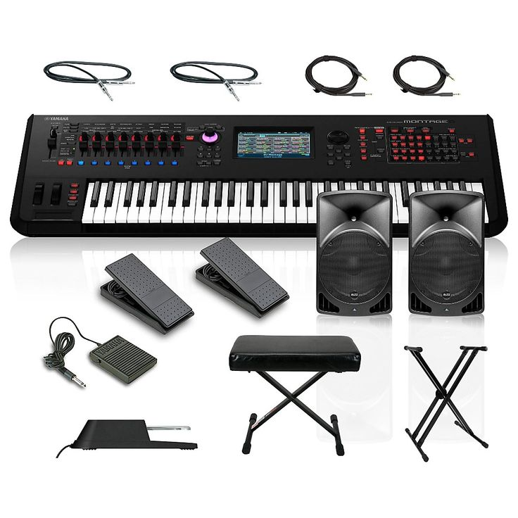 Yamaha Montage 6 61-Key Synthesizer with Powered Speakers Stand Pedals