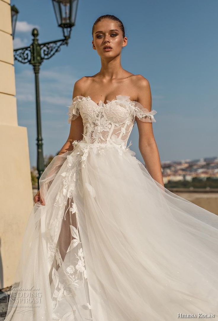 helena kolan 2019 bridal off the shoulder sweetheart neckline heavily embellishe…