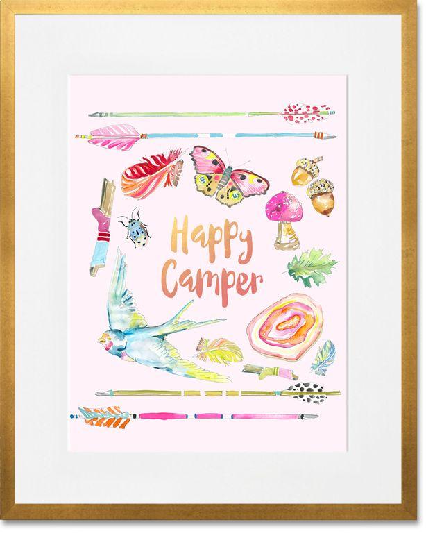 Bright Happy Camper, Bohemian Girl Art Prints | shelly kennedy/drooz studio for Oopsy Daisy