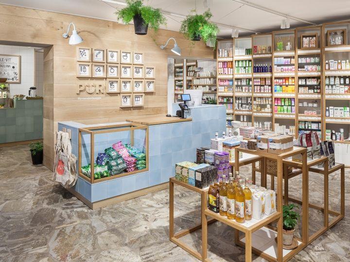 Дизайн магазина здорового питания в экостиле