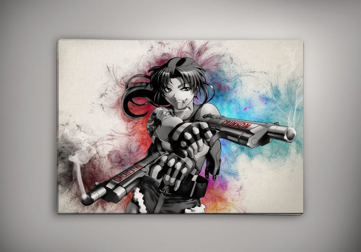 "Black Lagoon Anime Manga Watercolor Print Poster Rokuro ""Rock"" Okajima Revy Dutch Benny"