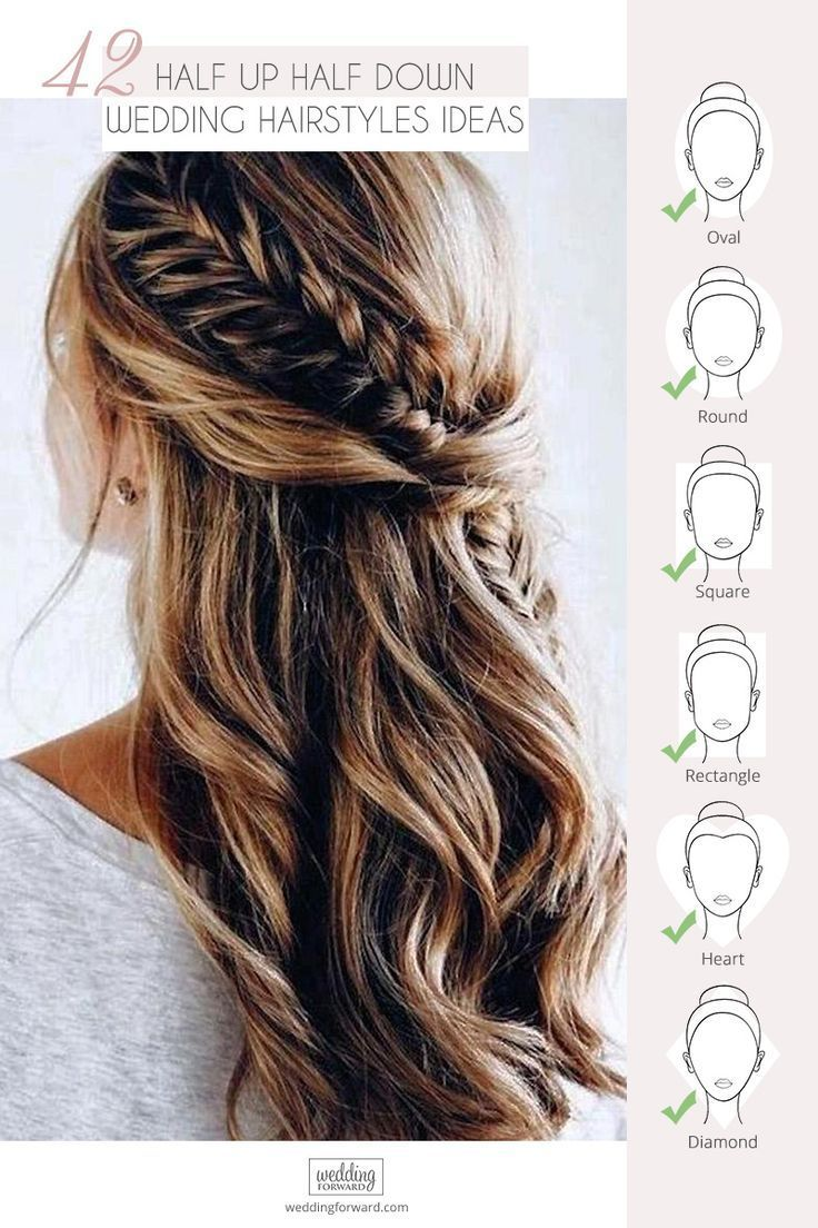 42 ideas de peinados de boda mitad arriba mitad abajo   – Hochzeit Frisur