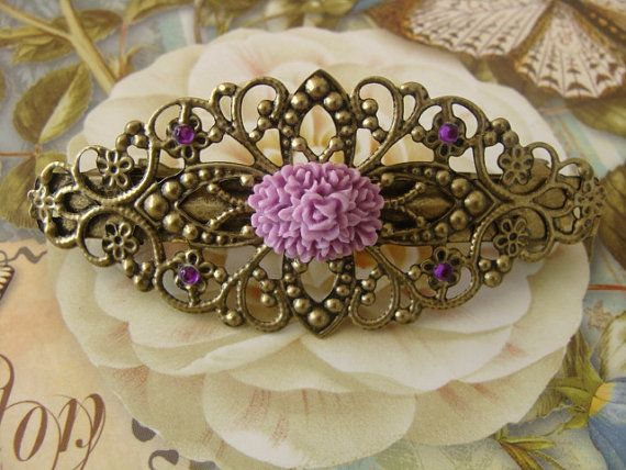 Oval Lavender Flower Hair Barrette Clip  by WillingHandsDesigns, $8.00