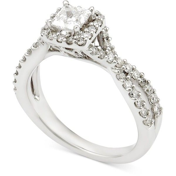 Diamond Princess Twist Engagement Ring (1 ct. t.w.) in 14k White Gold ($2,695) ❤ liked on Polyvore featuring jewelry, rings, white gold, princess cut diamond rings, twisted engagement ring, engagement rings, white gold princess cut ring and diamond rings