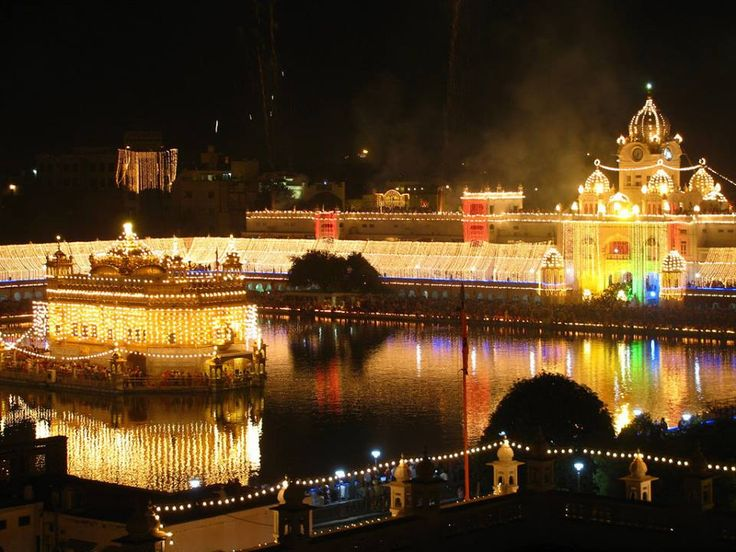 The Beautifully lit up Complex of the Temple — at Golden Temple.