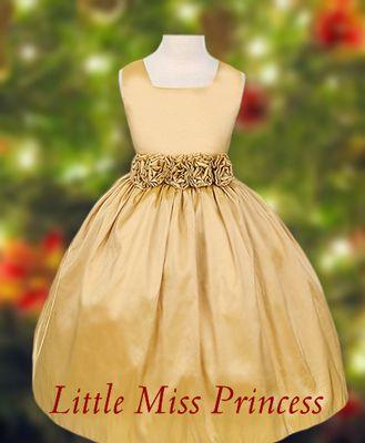 gold dresses for girls | Elegant Gold Christmas Dress:(Girls Christmas Dresses)