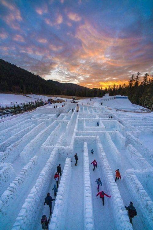 Worlds largest ice maze in Zakopane / Poland (via reddit.com). #travel
