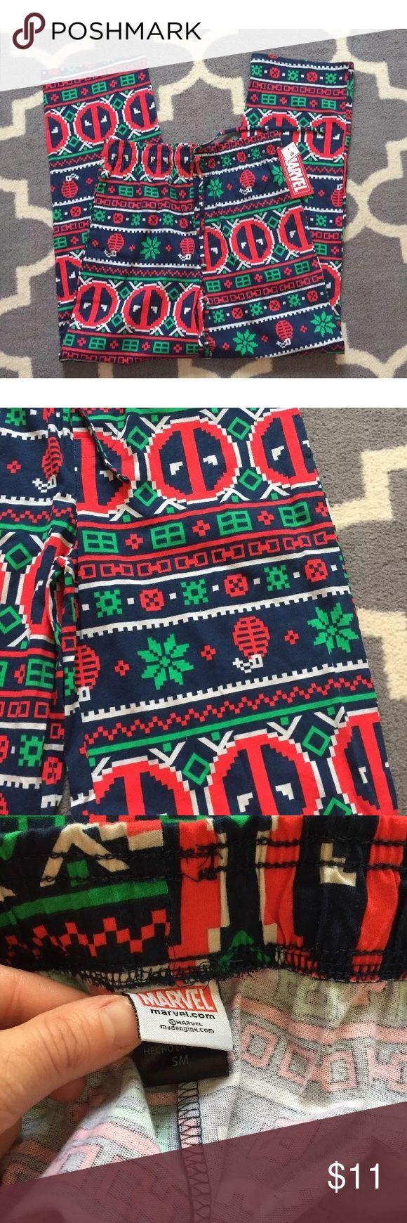 """Marvel Deadpool men's NWT Christmas pjs S New with tag men's Christmas pajama pant bottoms with straight leg, elastic waist in size small. Marvel comics themed - Deadpool. Inseam is 29"""" - loose fit and 100% cotton material. Marvel Pants"""