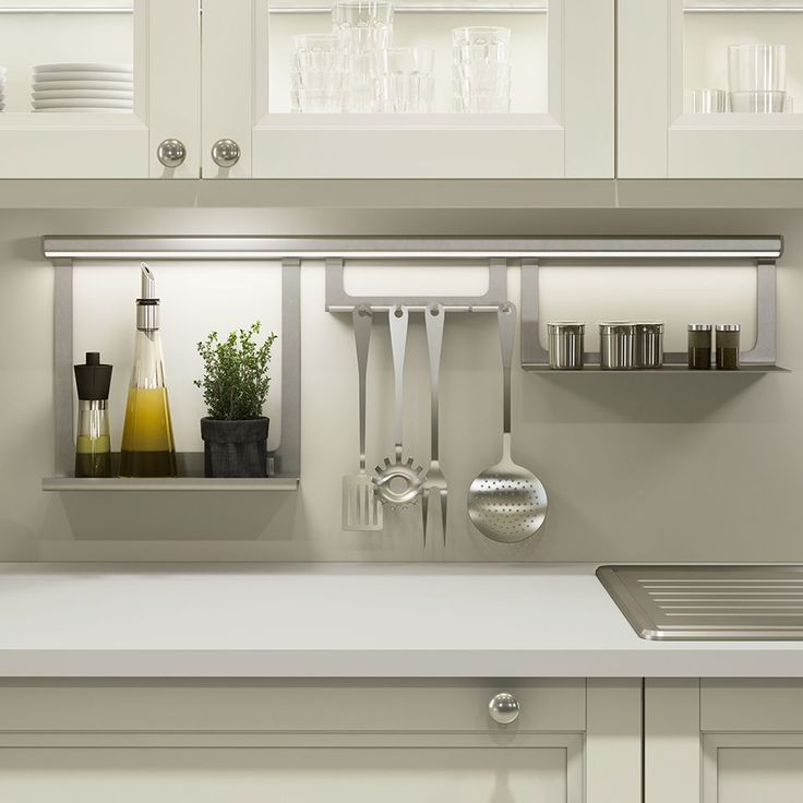 Undercabinet lighting AND kitchen organization rail all in one! Cool idea for modern and contemporary kitchens | Sensio Midway Aluminium Hanging Rail Profile