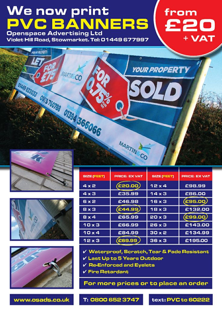 We now offer Banners at very competitive prices.