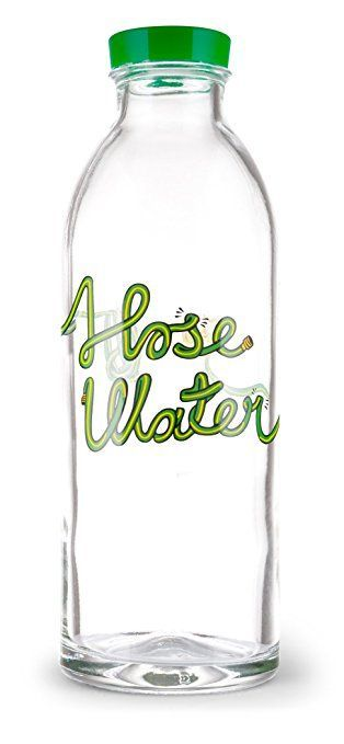 Hose Water Reusable Glass Water Bottle By Faucet Face, 14.4 Oz.