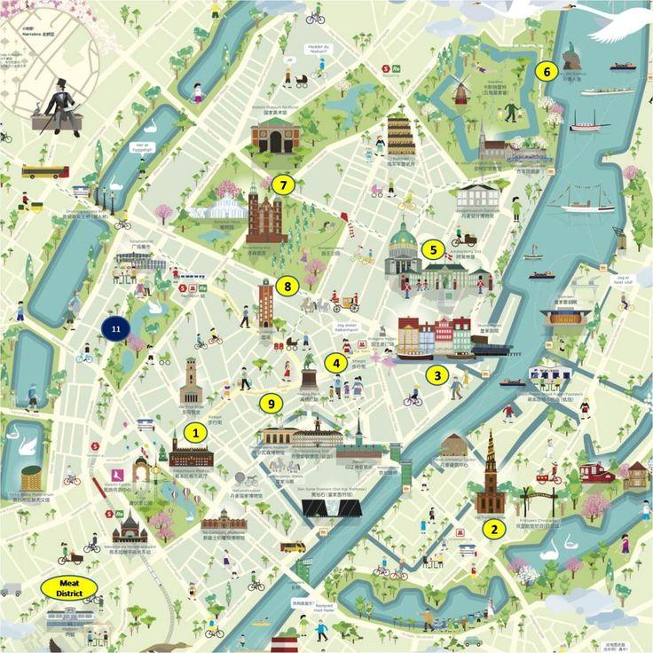 Mapa de turismo de Copenhague