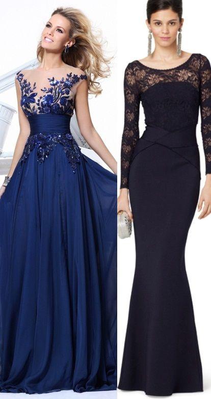 25 melhores ideias de vestidos longos azul marinho no