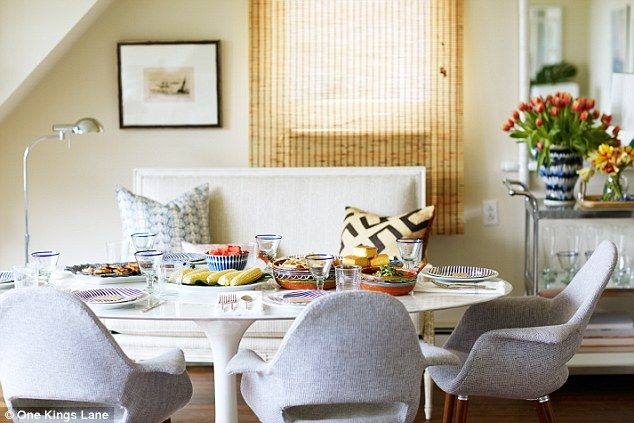 Sleek spot for supper: Keeping with a pervading mid-century feel, Alex started with a marb...