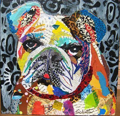 Bulldog torn paper collage