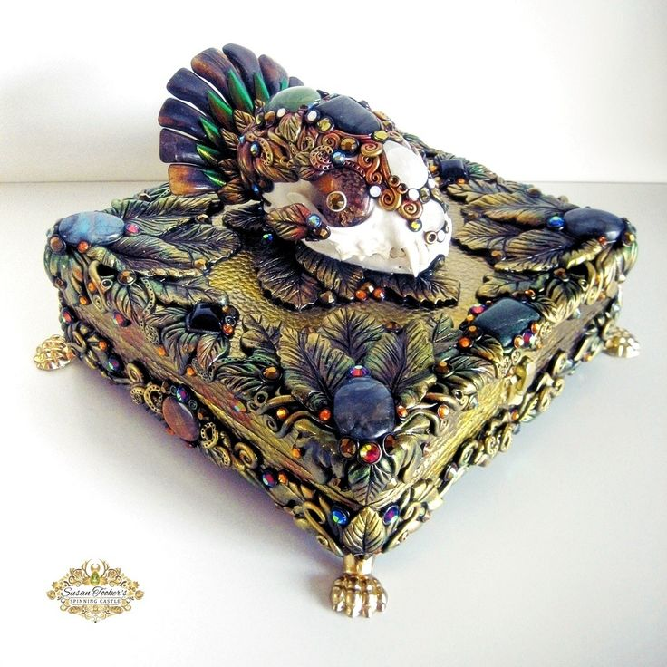 Image of KEEPER OF SECRETS - Bobcat Skull Shrine Art Reliquary Box Pagan Altar