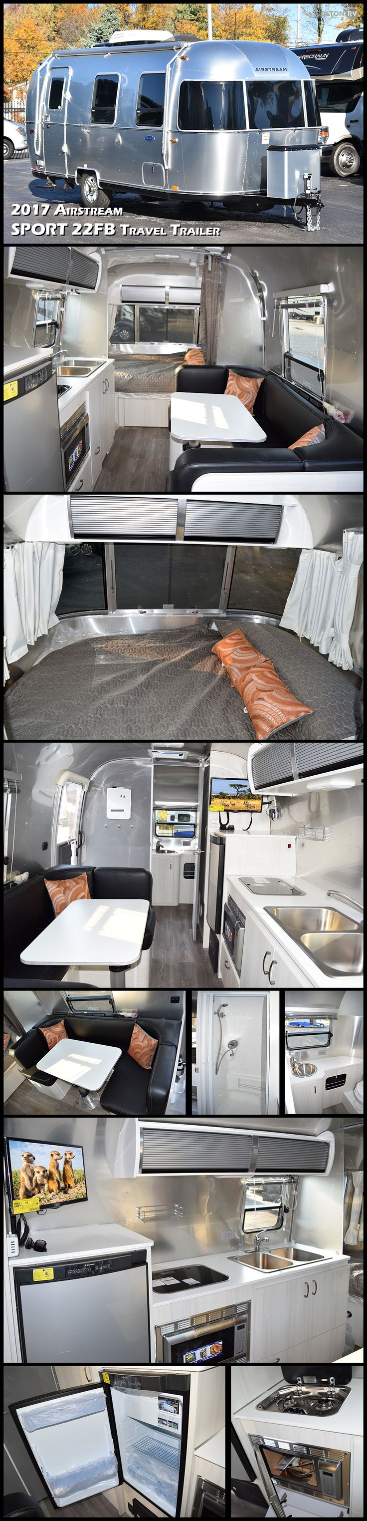 The ultra-towable 2017 Airstream Sport 22FB is a premium compact travel trailer that sets you free to hitch up and go, without leaving behind the comforts of home. Spacious yet fuel-efficient, the Sport is light enough to tow with an SUV, yet still packed with features including running water, a bathroom and shower, interior LED lights, a microwave and refrigerator, and even a range.