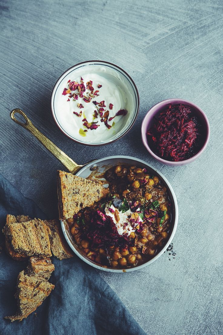 north african style aubergine & chickpeas, with grated red beet & with goat cheese, yogurt, honey cream