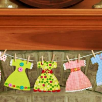 Gotta make this for my sewing area! So darling.: Dolls Dresses Patterns, Garlands Free, Dresses Templates, Dresses Garlands, Paper Dolls, Birthday Parties, Paper Dresses, Parties Decor Ideas, Free Patterns