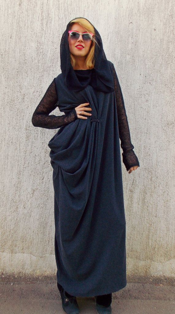 Plus size 3XL maxi dress made of wool-viscose and mohair sleeves and collar-hood. asymmetrical dress with folds at waist line.Long extralarge dress perfect