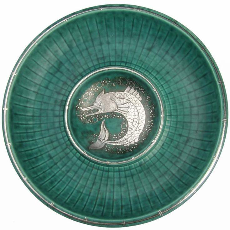 Art Deco Gustavsberg Argenta Dolphin Dish Wilhelm Kage