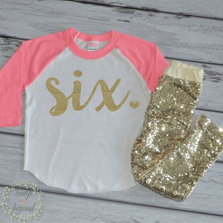 Birthday Girl Outfit - Raglan and gold sequin pants. The perfect way to add some sparkle to your little one's special day! We at Bump and Beyond Designs love to help you celebrate life's precious mome