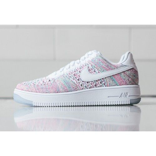 Bast Nike Air Force 1 Flyknit Dam Low Vit Rosa Gron Skor