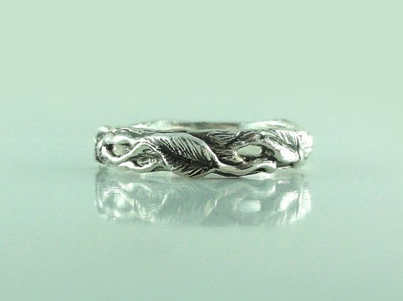 Twig and Leaf Wedding Band Tree Branch Ring by DawnVertreesJewelry