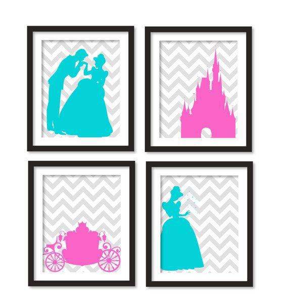 SALES 15 Nursery art  Silhouette of pink and aqua by babiesartroom