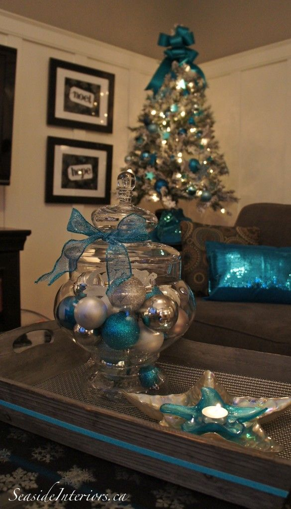 Christmas Decorations In Blue And Brown : Best teal christmas tree ideas on