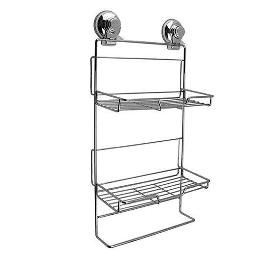 Push To Lock Stainless Steel & Chrome Double Rack Shampoo Basket