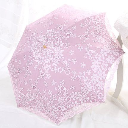 Elegant Women's Fashion Lace Embroidered Double-Layer Anti-UV 2 or 3-Folding Umbrella 6 Colors