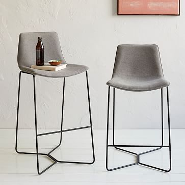 "The Bar Stool Height is 30"" high.  They grey material would coordinate with pillows/upholstery. Slope Upholstered Bar + Counter Stools #westelm"