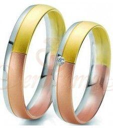 Βέρες γάμου τρίχρωμες με διαμάντι Breuning 6201-6202