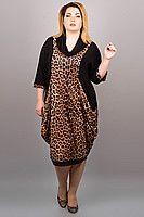 Красивое платье для пышных форм Доминго (леопард) 3220
