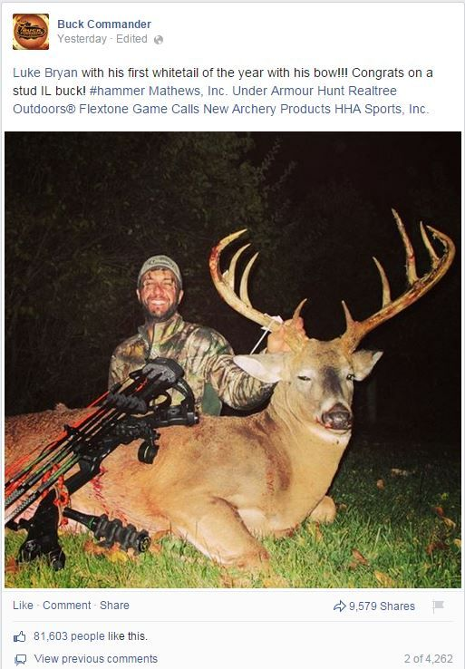 The Size Of The Deer That Music Star Luke Bryan Just Took Down Is Absolutely Unbelievable. And to think that it was shot in my home state Illinois