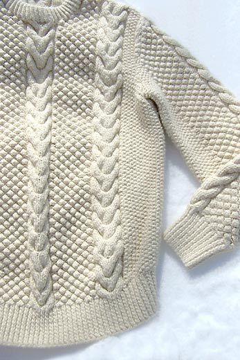 Aran fisherman's sweater. It is said the designs were all made different so a fisherman's body could be recognized if he later washed up from being lost at sea.