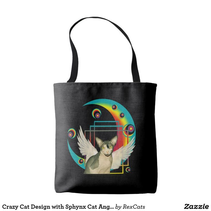 Crazy Cat Design with Sphynx Cat Angel Tote Bag